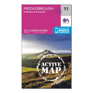Landranger Active 93 Middlesbrough, Darlington & Hartlepool Map With Digital Version