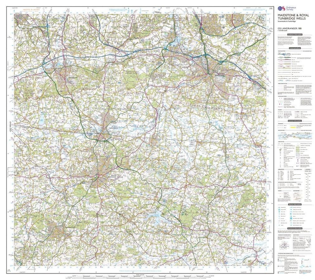 ORDNANCE SURVEY Landranger 188 Maidstone Royal Tunbridge Wells Map