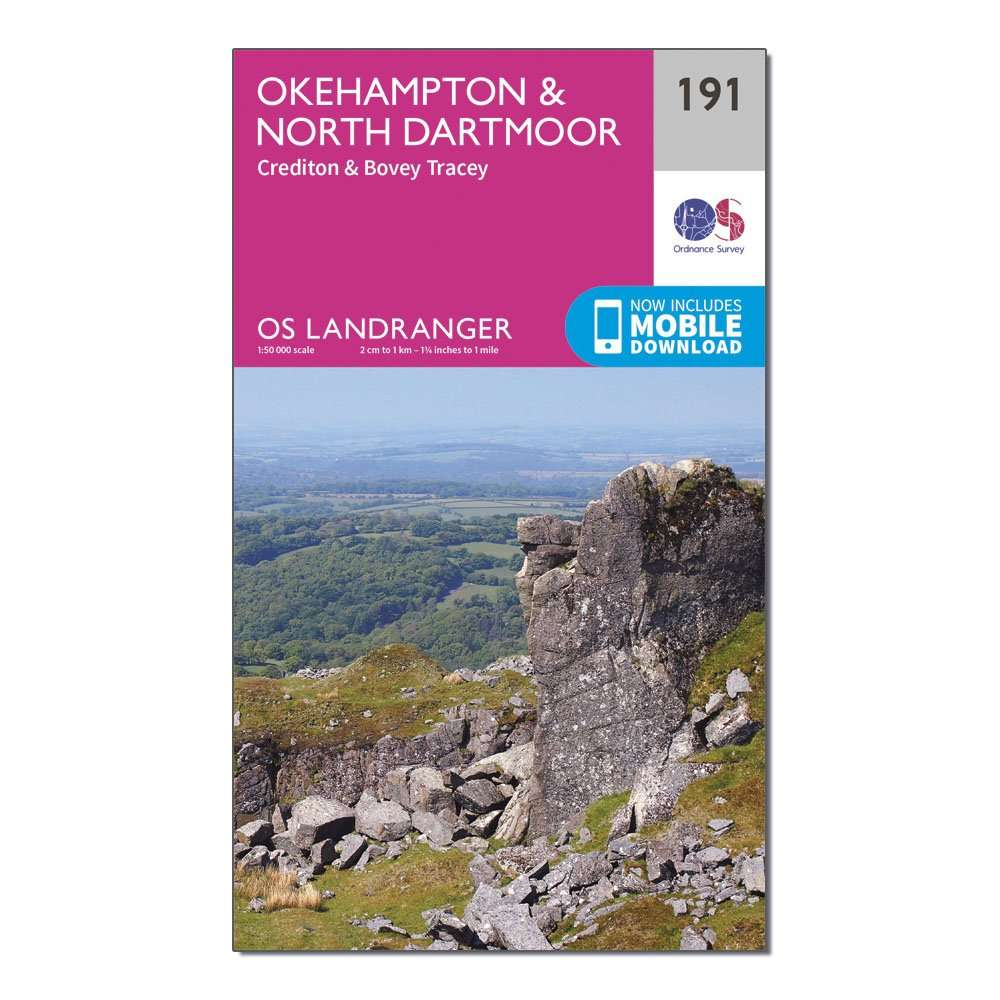 ORDNANCE SURVEY Landranger 191 Okehampton & North Dartmoor Map With Digital Version