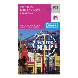 Landranger Active 102 Preston & Blackpool, Lytham Map With Digital Version