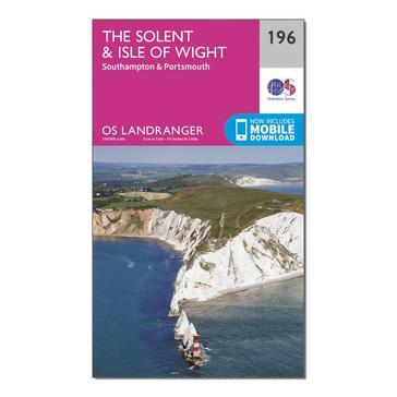 Orange Ordnance Survey Landranger 196 The Solent & the Isle of Wight, Southampton & Portsmouth Map With Digital Version