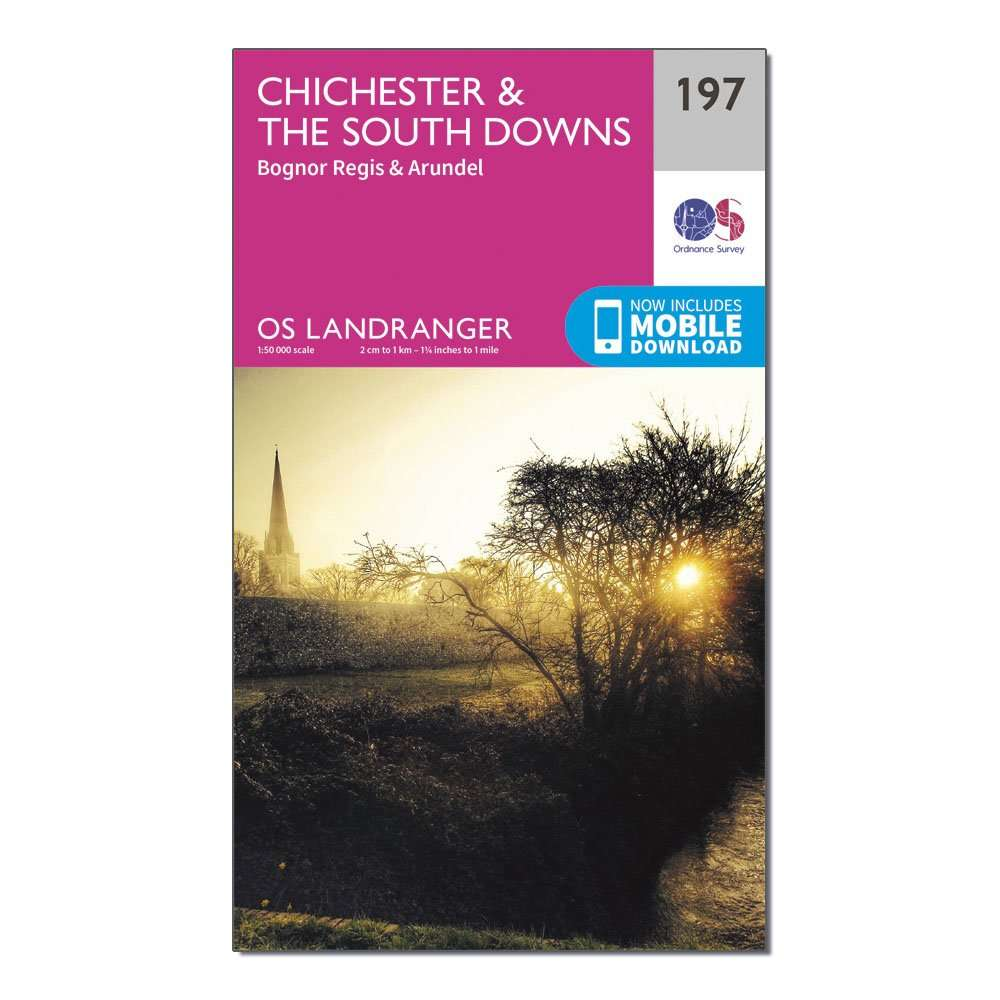 ORDNANCE SURVEY Landranger 197 Chichester & The South Downs Map With Digital Version