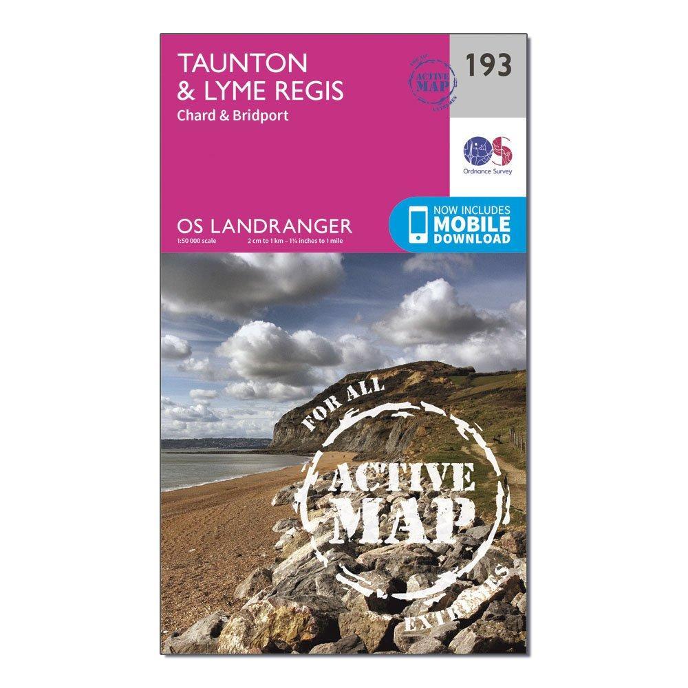 Ordnance Survey Ordnance Survey Landranger Active 193 Taunton & Lyme Regis, Chard & Bridport Map With Digital Version - Orange, Orange