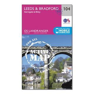Landranger Active 104 Leeds & Bradford, Harrogate & Ilkley Map With Digital Version
