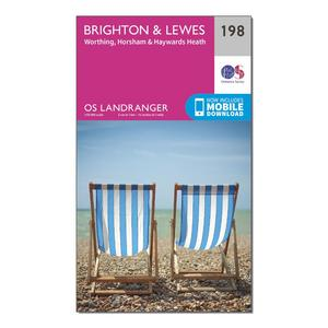 ORDNANCE SURVEY Landranger 198 Brighton & Lewes, Haywards Heath Map With Digital Version