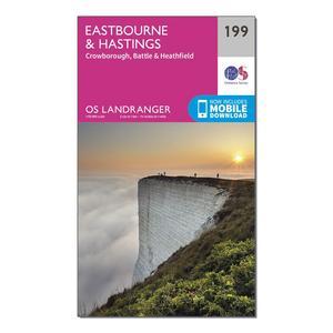 ORDNANCE SURVEY Landranger 199 Eastbourne & Hastings, Battle & Heathfield Map With Digital Version