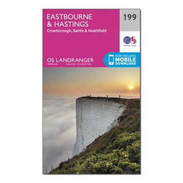 Orange Ordnance Survey Landranger 199 Eastbourne & Hastings, Battle & Heathfield Map With Digital Version