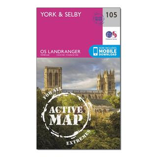 Landranger Active 105 York & Selby Map With Digital Version