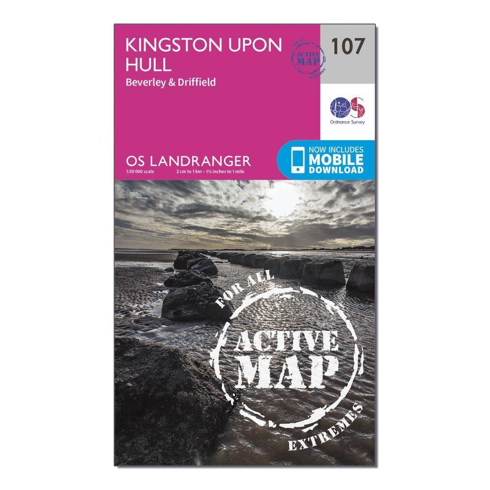 Ordnance Survey Ordnance Survey Landranger Active 107 Kingston upon Hull, Beverley & Driffield Map With Digital Version - Orange, Orange