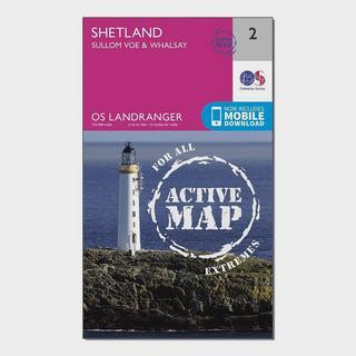 Landranger Active 2 Shetland  Sullom Voe & Whalsay Map With Digital Version