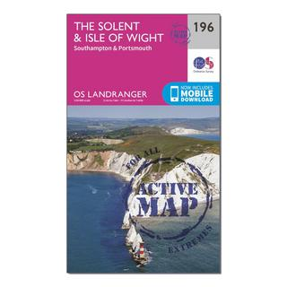 Landranger Active 196 The Solent & the Isle of Wight, Southampton & Portsmouth Map With Digital Version