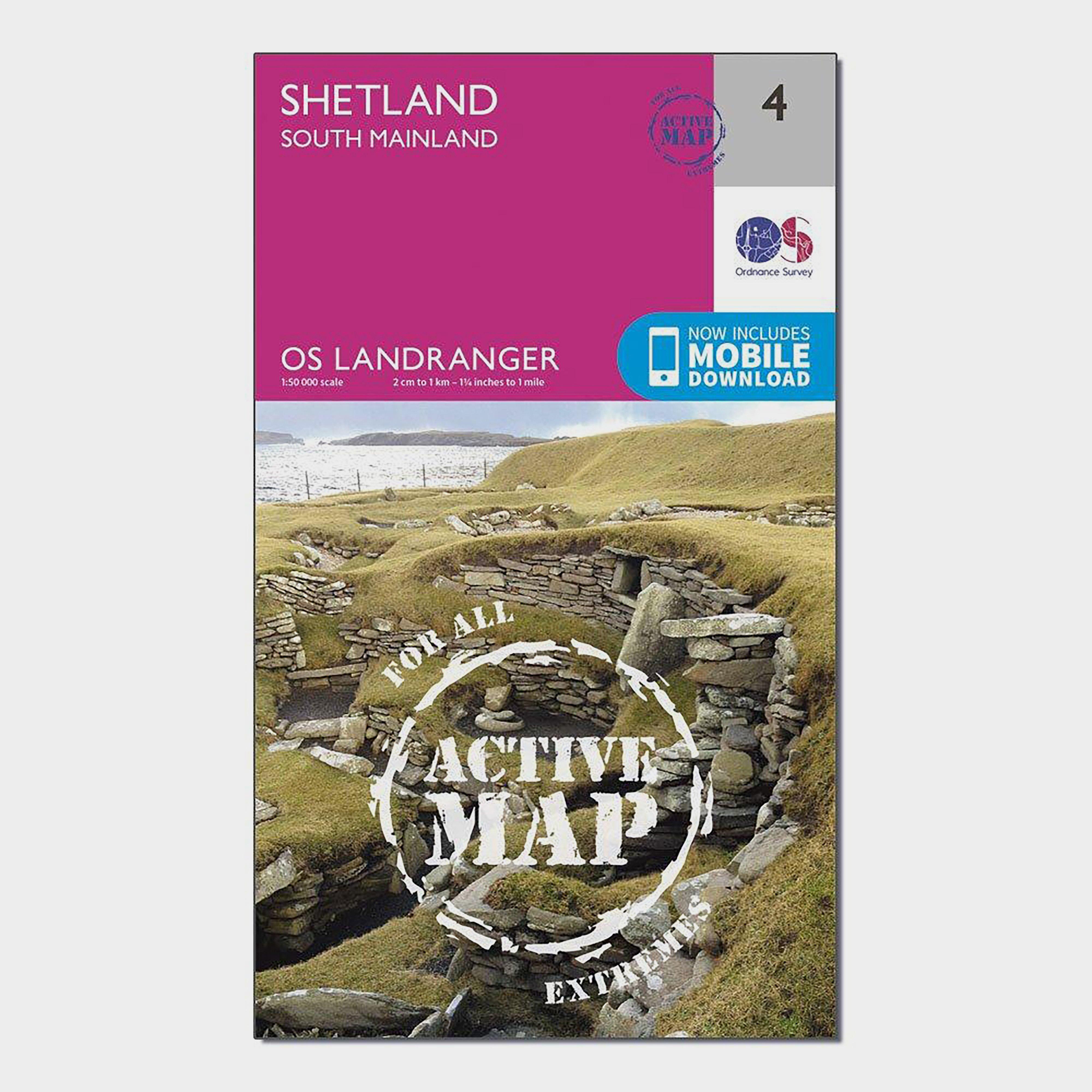 Image of Ordnance Survey Landranger Active 4 Shetland South Mainland Map With Digital Version - Pink/D, Pink/D