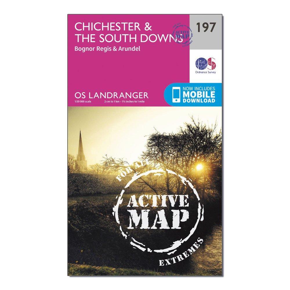 Ordnance Survey Ordnance Survey Landranger Active 197 Chichester & The South Downs Map With Digital Version - Orange, Orange