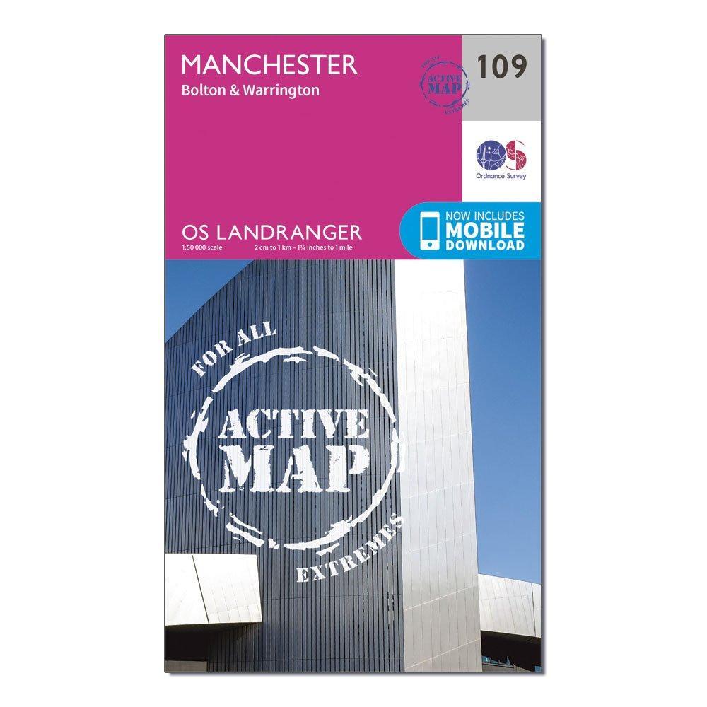 Ordnance Survey Ordnance Survey Landranger Active 109 Manchester, Bolton & Warrington Map With Digital Version - Orange, Orange