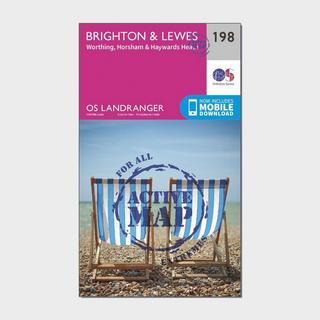 Landranger Active 198 Brighton & Lewes, Haywards Heath Map With Digital Version