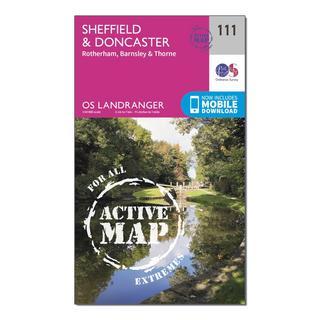 Landranger Active 111 Sheffield & Doncaster, Rotherham, Barnsley & Thorne Map With Digital Version