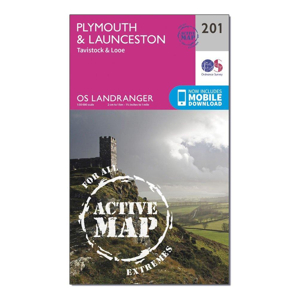 Image of Ordnance Survey Landranger Active 201 Plymouth, Launceston, Tavistock & Looe Map With Digital Version - Pink/D, Pink/D