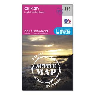 Landranger Active 113 Grimsby, Louth & Market Rasen Map With Digital Version