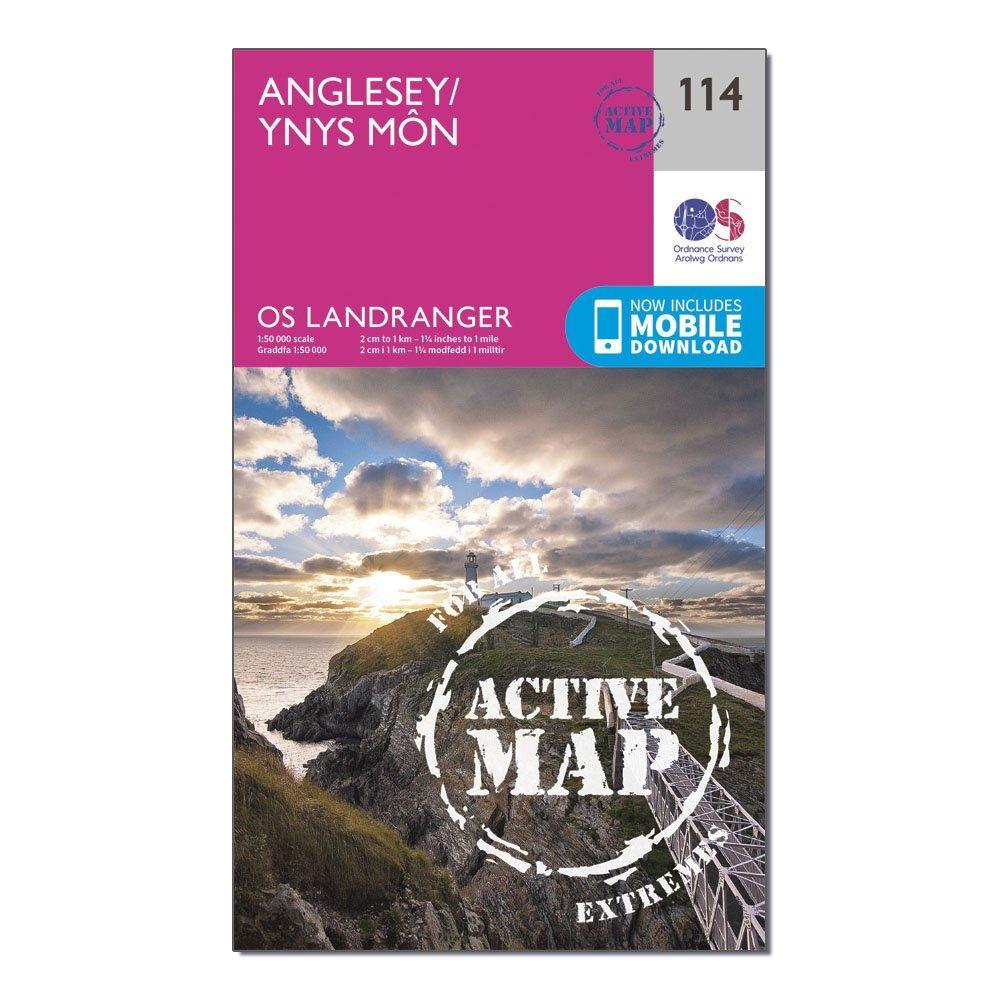 Ordnance Survey Ordnance Survey Landranger Active 114 Anglesey Map With Digital Version - Orange, Orange