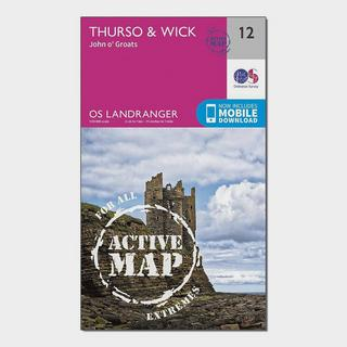 Landranger Active 12 Thurso & Wick, John O'Groats Map With Digital Version