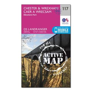 Landranger Active 117 Chester & Wrexham, Ellesmere Port Map With Digital Version