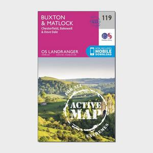 ORDNANCE SURVEY Landranger Active 119 Buxton & Matlock, Chesterfield, Bakewell & Dove Dale Map With Digital Version