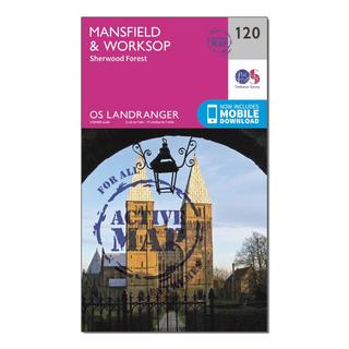 Landranger Active 120 Mansfield & Worksop, Sherwood Forest Map With Digital Version