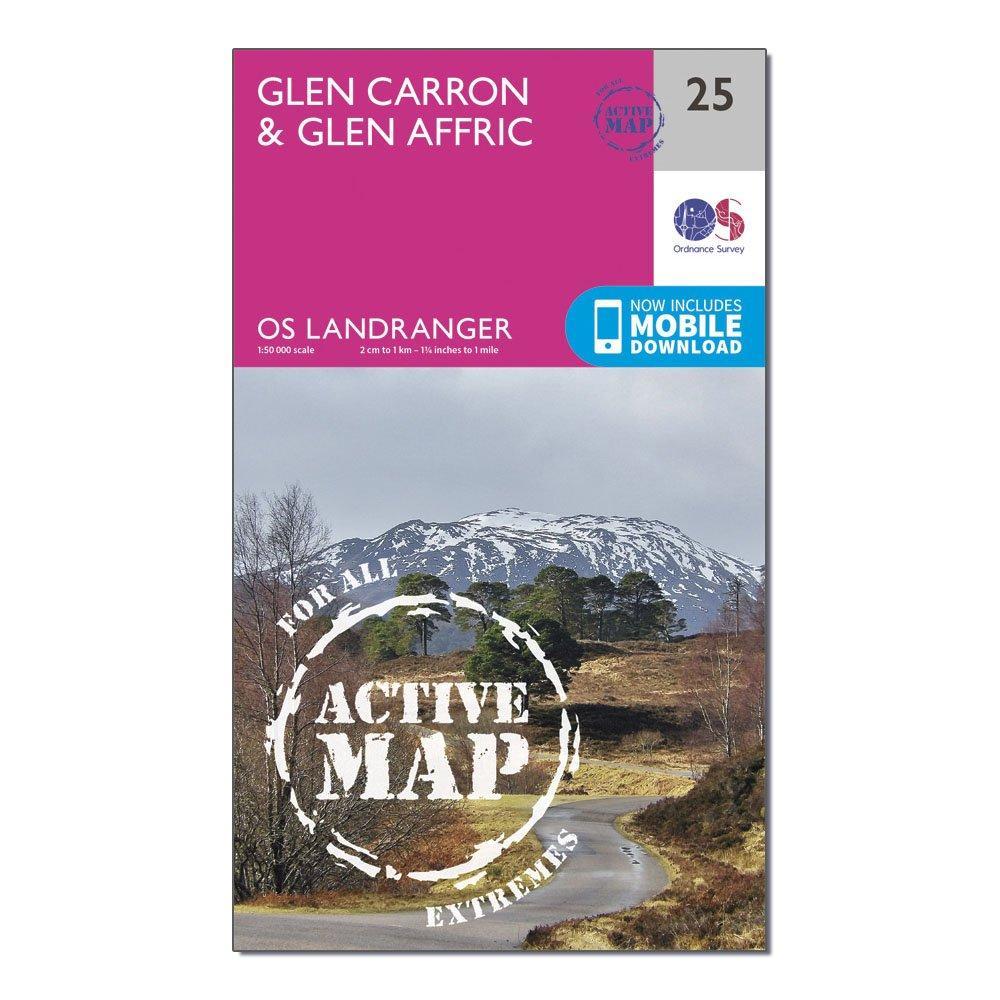 Ordnance Survey Ordnance Survey Landranger Active 25 Glen Carron & Glen Affric Map With Digital Version - Orange, Orange