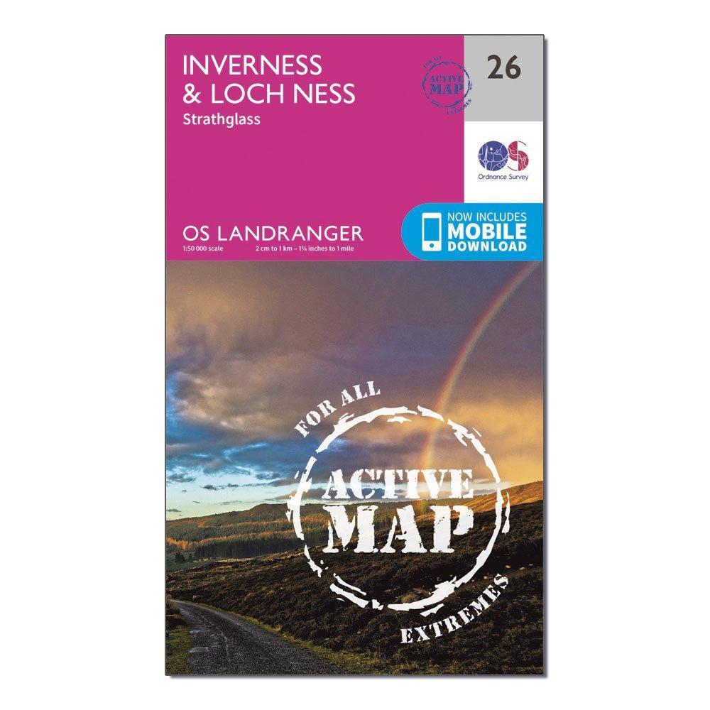 Ordnance Survey Ordnance Survey Landranger Active 26 Inverness & Loch Ness, Strathglass Map With Digital Version - Orange, Orange