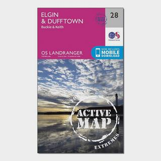 Landranger Active 28 Elgin, Dufftown, Buckie & Keith Map With Digital Version