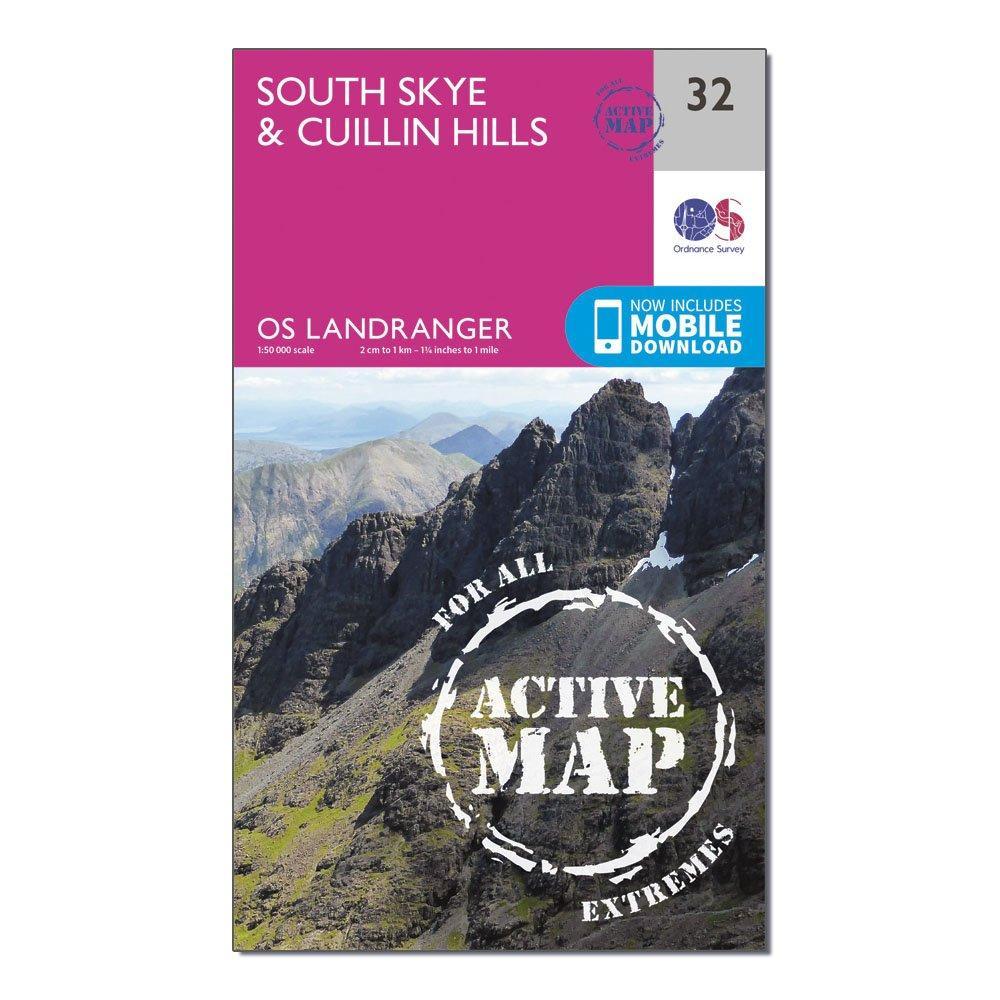 Ordnance Survey Ordnance Survey Landranger Active 32 South Skye & Cuillin Hills Map With Digital Version - Orange, Orange