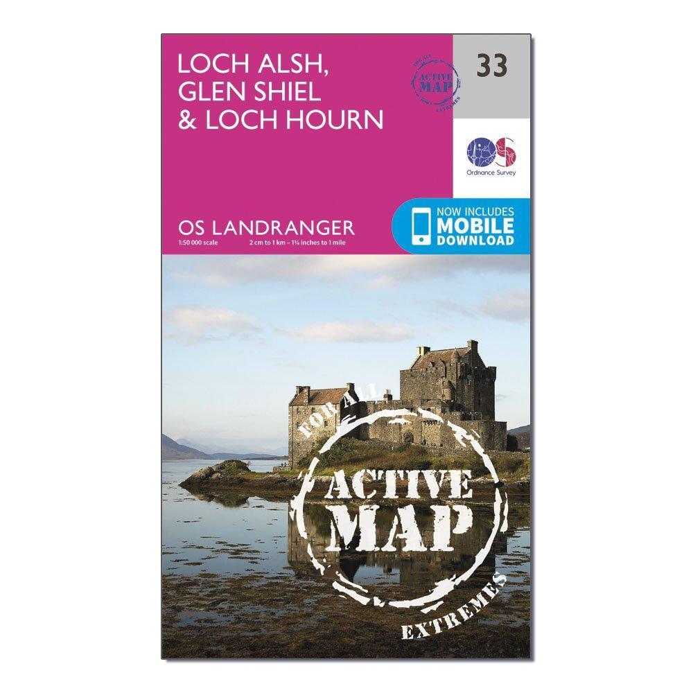 Image of Ordnance Survey Landranger Active 33 Loch Alsh, Glen Shiel & Loch Hourn Map With Digital Version - Pink/D, Pink/D