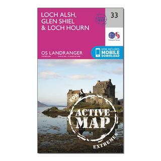 Landranger Active 33 Loch Alsh, Glen Shiel & Loch Hourn Map With Digital Version