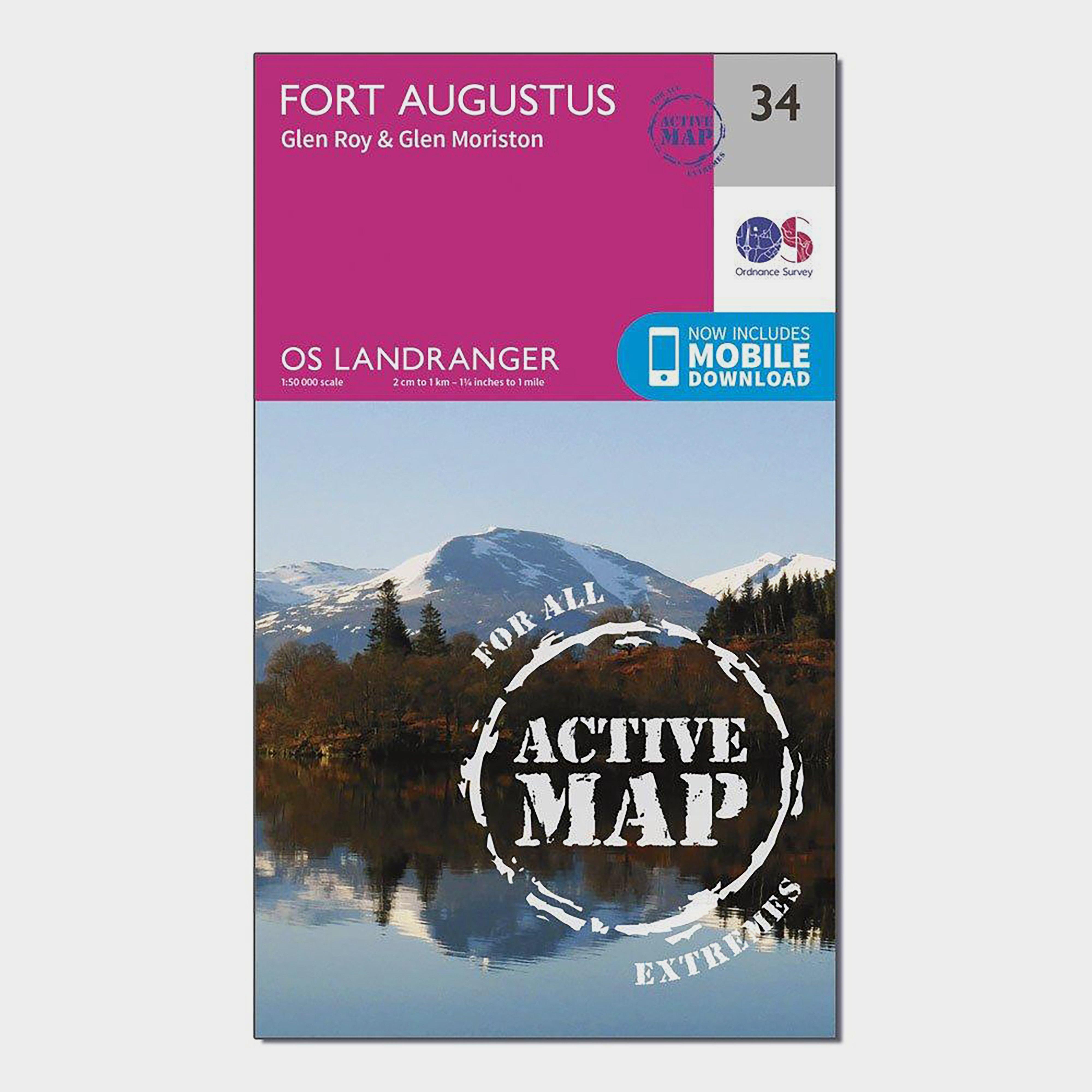 Ordnance Survey Ordnance Survey Landranger Active 34 Fort Augustus, Glen Roy & Glen Moriston Map With Digital Version - Orange, Orange