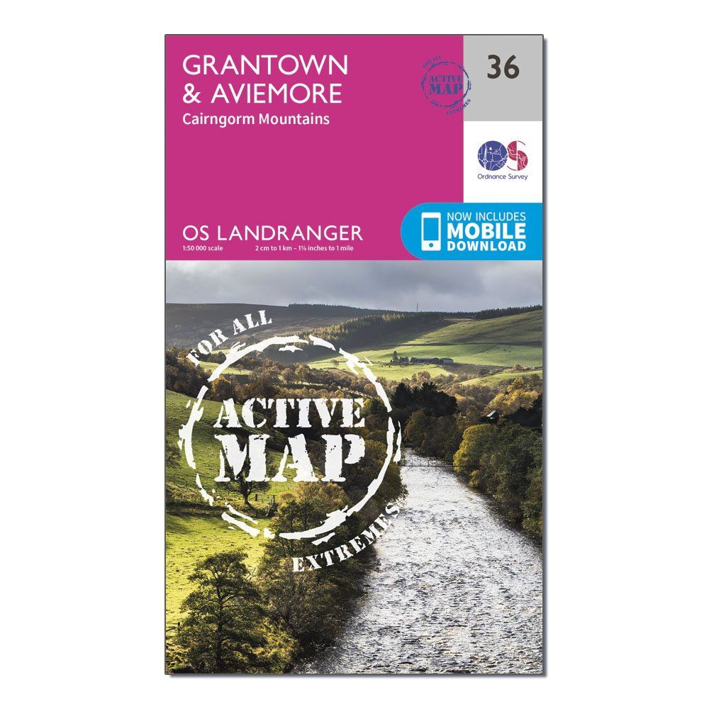 ORDNANCE SURVEY Landranger Active 36 Grantown, Aviemore & Cairngorm Mountains Map With Digital Version