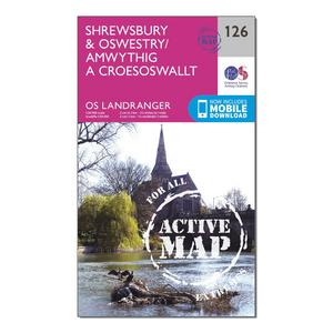 ORDNANCE SURVEY Landranger Active 126 Shrewsbury & Oswestry Map With Digital Version