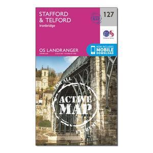 ORDNANCE SURVEY Landranger Active 127 Stafford & Telford, Ironbridge Map With Digital Version