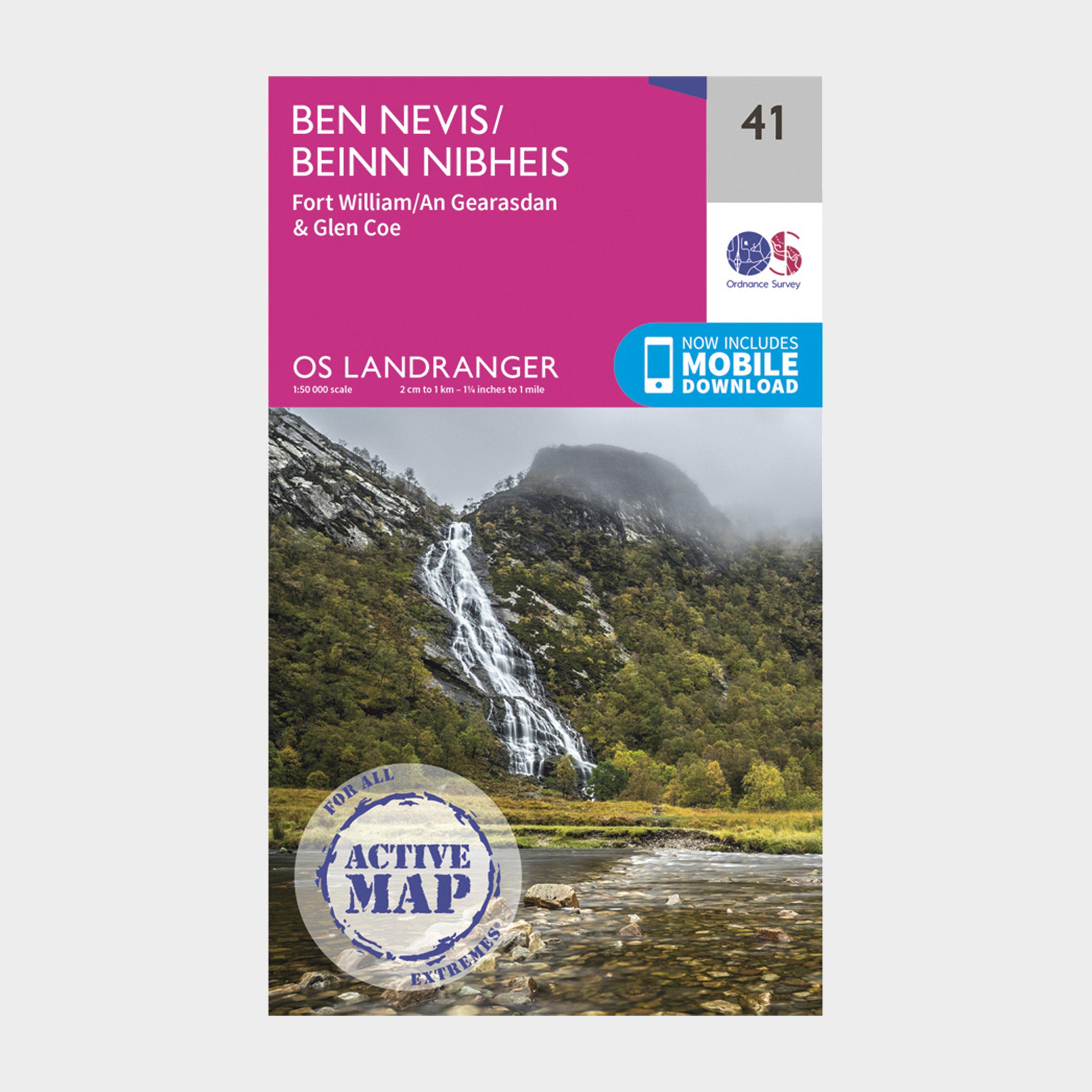 ORDNANCE SURVEY Landranger Active 41 Ben Nevis, Fort William & Glen Coe Map With Digital Version