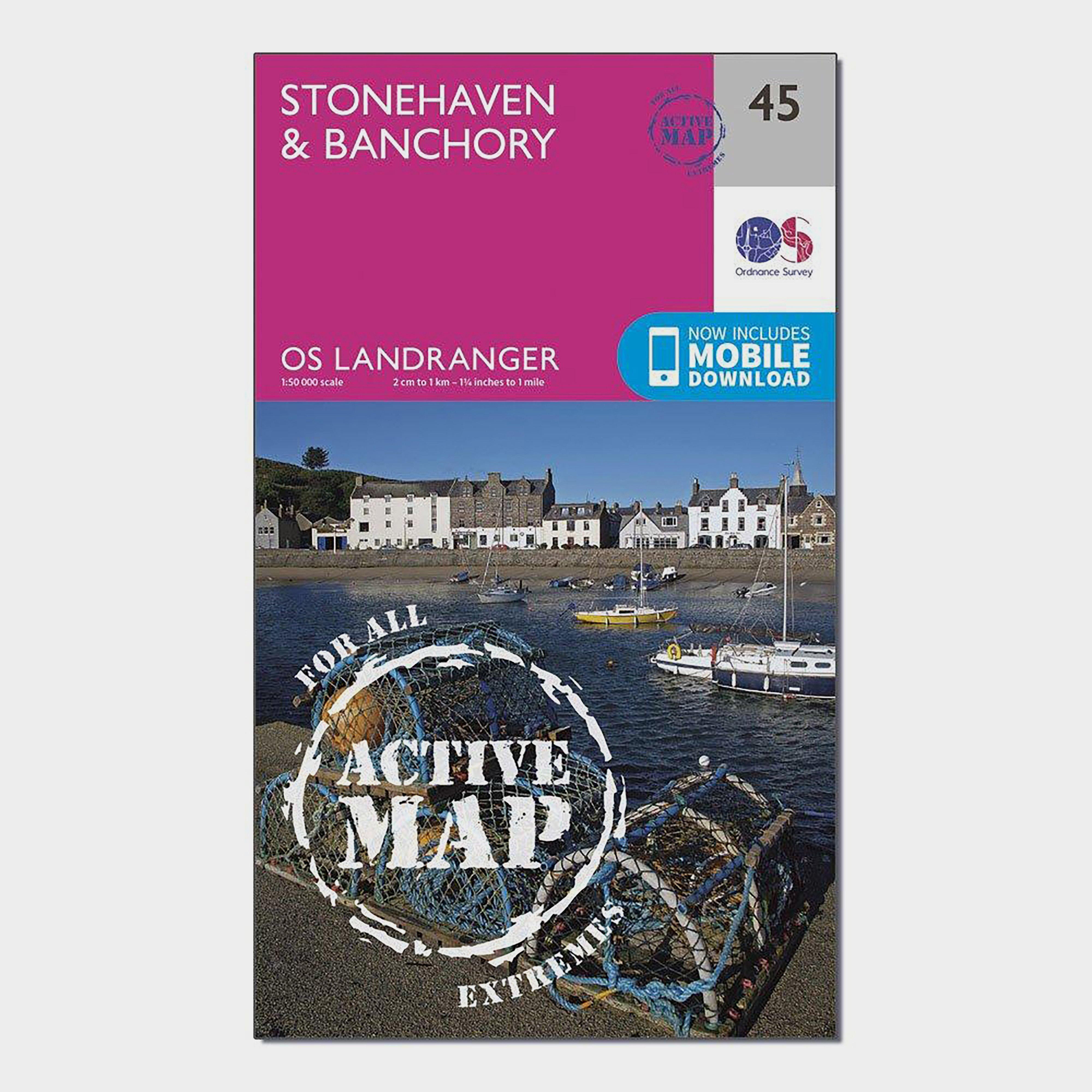 Ordnance Survey Ordnance Survey Landranger Active 45 Stonehaven & Banchory Map With Digital Version - Orange, Orange