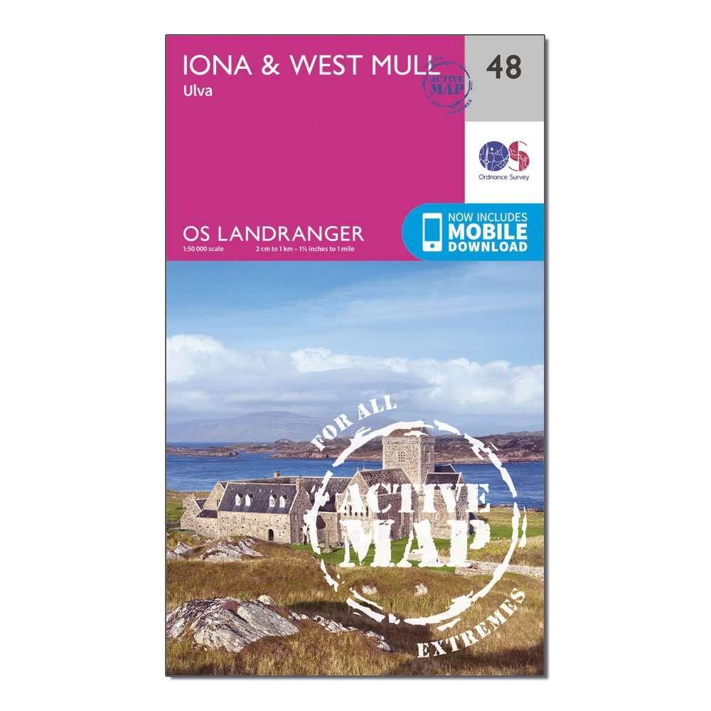 ORDNANCE SURVEY Landranger Active 48 Iona & West Mull, Ulva Map With Digital Version