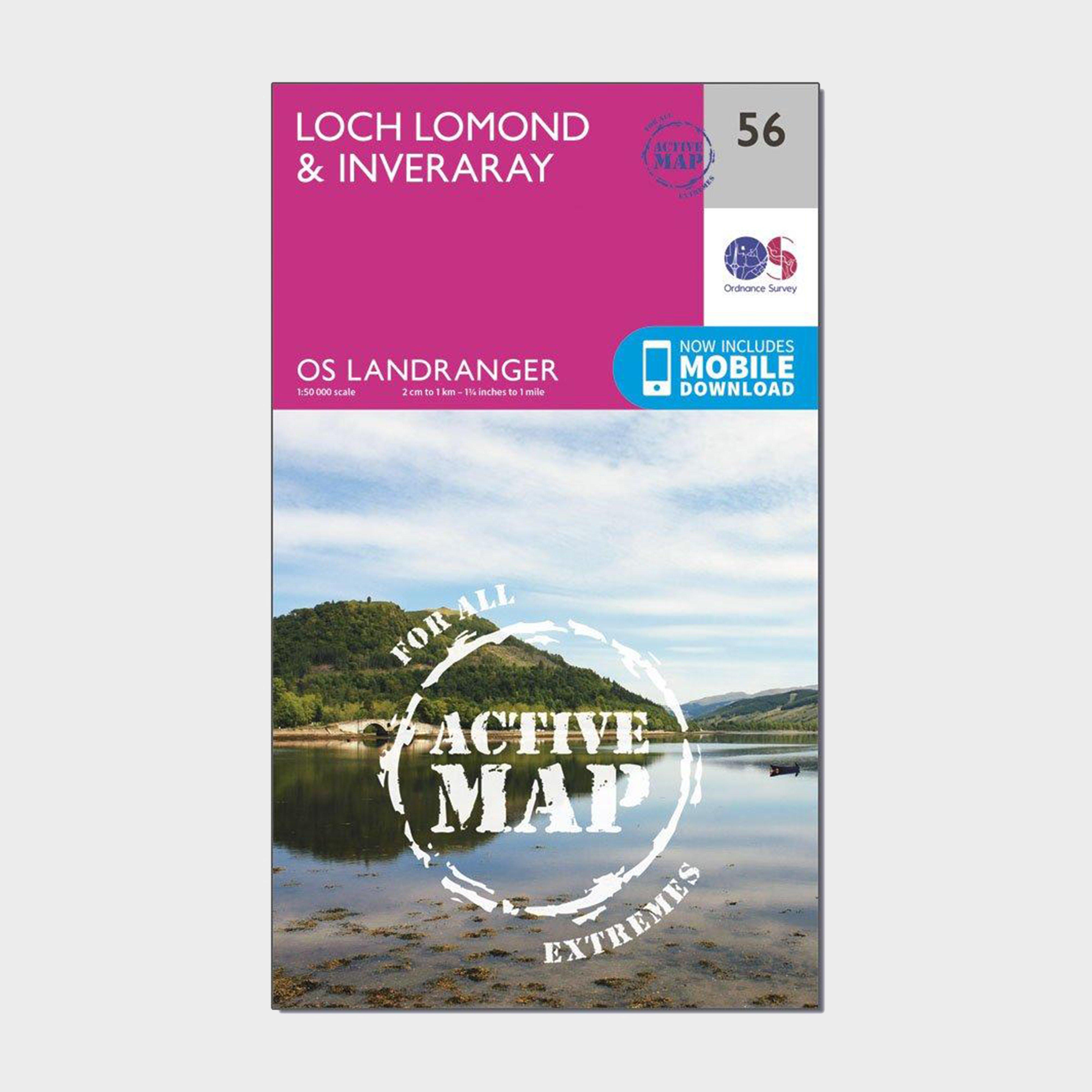 Ordnance Survey Ordnance Survey Landranger Active 56 Loch Lomond & Inveraray Map With Digital Version - Orange, Orange