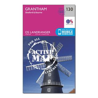 Landranger Active 130 Grantham, Sleaford & Bourne Map With Digital Version