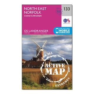 Landranger Active 133 North East Norfolk, Cromer & Wroxham Fakenham Map With Digital Version
