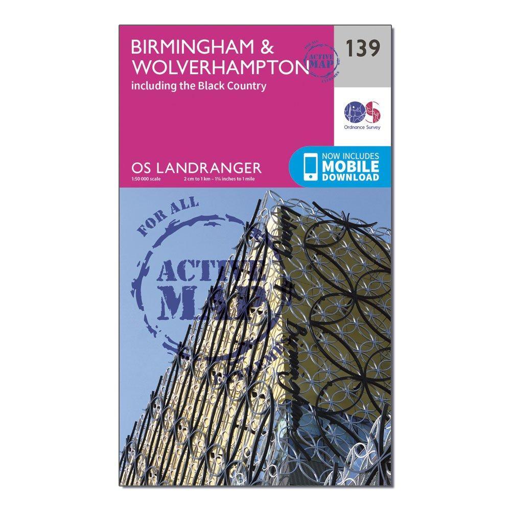 Ordnance Survey Ordnance Survey Landranger Active 139 Birmingham & Wolverhampton Map With Digital Version - Orange, Orange