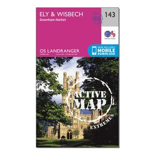 Landranger Active 143 Ely & Wisbech, Downham Market Map With Digital Version