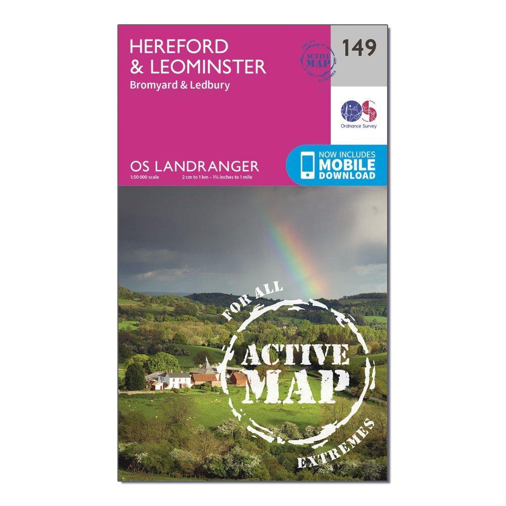 Ordnance Survey Ordnance Survey Landranger Active 149 Hereford & Leominster, Bromyard & Ledbury Map With Digital Version - Orange, Orange