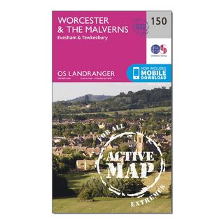 Landranger Active 150 Worcester & The Malverns, Evesham & Tewkesbury Map With Digital Version