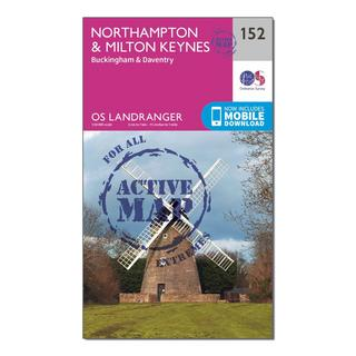 Landranger Active 152 Northampton, Milton Keynes, Buckingham & Daventry Map With Digital Version