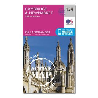 Landranger Active 154 Cambridge, Newmarket & Saffron Walden Map With Digital Version