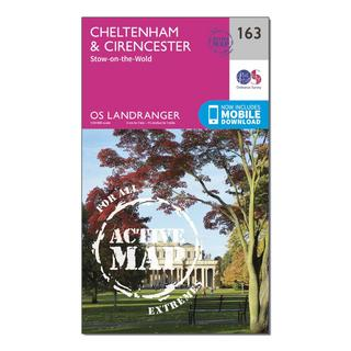 Landranger Active 163 Cheltenham & Cirencester, Stow-on-the-Wold Map With Digital Version